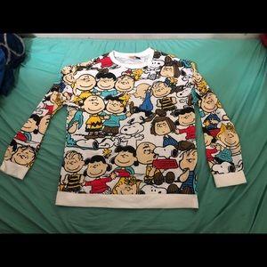Peanuts All Over Print Pullover Sweater Sz L